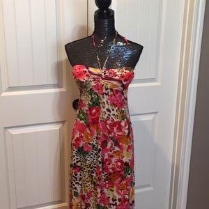 Tropical Animal Print maxi Dress size S NWT